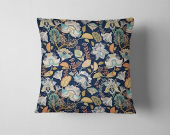 Navy Forest Floral throw pillow