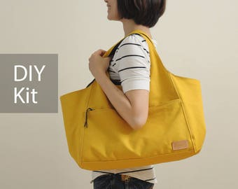 Sunny Day Canvas Bag DIY Kit with Sewing Pattern & Tutorials (all the materials included)