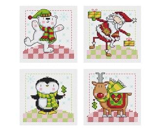 Chubby Christmas Set 1 - 4 Cross Stitch Patterns - Durene J Cross Stitch - DJXS2233