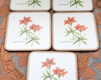 Vintage Pimpernel Saskatchewan Square Coasters Prairie Lily Flower Orange Red Flower Canada  England Cork Back  Set Of 5 Including Box