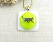 Glass Black Cat Necklace - Green and White Fused Glass Pendant - Black Cat Pendant - Handmade Glass Cat Jewelry - Black Cat Pendant