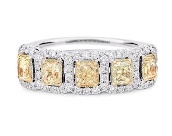 Yellow Diamond Ring, Multi Stone Diamond Ring, fancy yellow Diamond Ring, 18K Gold Ring
