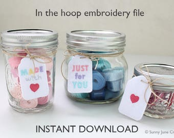 ITH In-the-hoop tags- machine embroidery file instant download