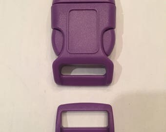 "Purple 1"" Curved Side Release Buckles and Slides"