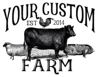 custom farm shirt cow pig sheep chicken hoodie personalized sweatshirt CHRISTMAS GIFT your farm name