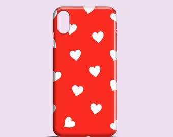 White Hearts phone case / Red iPhone X case, iPhone 8, iPhone 7, hearts iPhone 7 Plus case, iPhone Se, iPhone 6S, iPhone 6, iPhone 5S/5