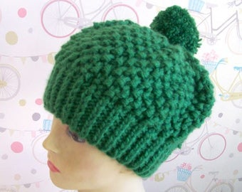 Green beanie hat Slouchy beanie hat green hat soft warm knitted hat with Pom Pom