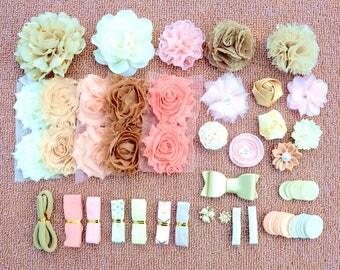 DIY Baby Shower Headband Kit, DIY Headbands, Headband Making Kit, Girls Headbands, Pink, Gold Headbands