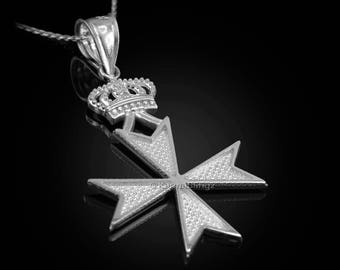Sterling Silver Maltese Cross Imperial Crown Pendant Necklace
