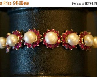 ON SALE cultured Pearl, CZ Bracelet