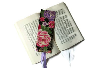 bookmarks with Japanese fabric black pink and purple