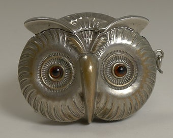 Antique English Figural Vesta / Match Strike - Owl With Glass Eyes c.1890