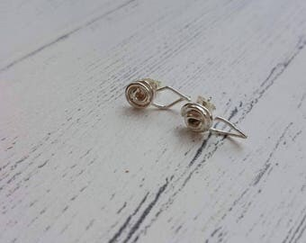 Rose Bud Earrings - Rose Earrings - Silver Floral - Rose Studs - Silver Stud Earrings - On Trend - Handmade Jewellery - Rose Bud Studs - UK