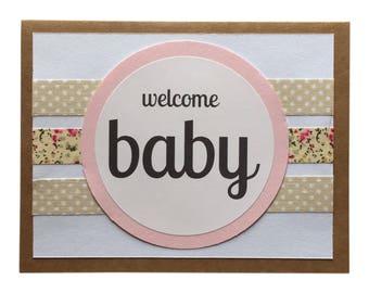 Welcome Baby Girl - Blank Greeting Card