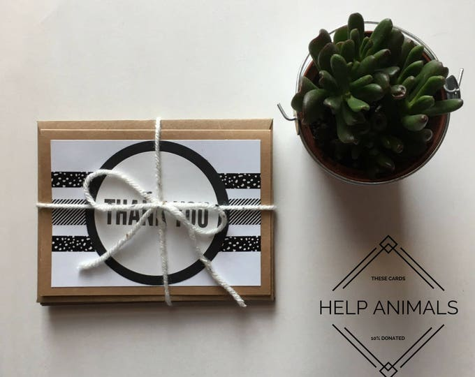Thank You Cards | Black and White Thank You Cards |Thank You Card Set | Thank You Stationery