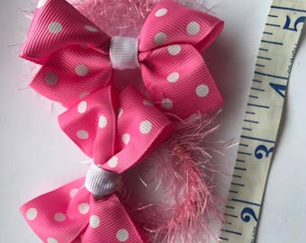 Super Cute Pink with White Dotty Bows Set of 2 bobbles/Ties/Elastics
