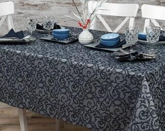 Christmas Linen/Cotton Tablecloth, Blue linen, Cotton table top, Linen table cover, Christmas Tablecloth