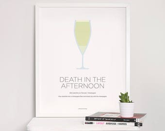 Death in the Afternoon cocktail print – Cocktail art – Cocktail recipe – Ernest Hemingway – Champagne – Kitchen art – Kitchen poster – Gifts
