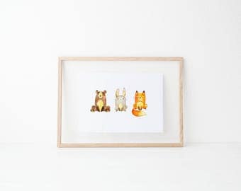 Woodland Animal Downloadable Print, Instant Download, Printable, Nursery Print, Nursery Decor, Baby Print, Baby Decor, Woodland Animals