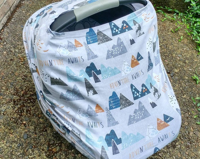 Stretchy Car Seat Cover/Nursing Cover, car seat cover, cart cover, Multiuse Stretch Baby Carseat Cover, boy/girl outdoor wild adventure baby