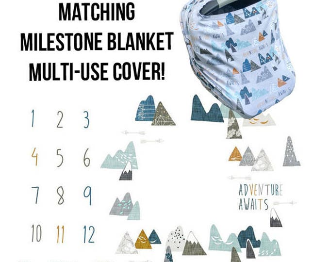 Milestone Baby Blanket, Monthly Milestone Blanket, Baby Blanket, Monthly Baby Blanket, Adventure Awaits, Baby Milestone Blanket, Baby Shower