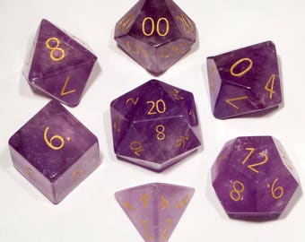 ENGRAVED Amethyst Gemstone Polyhedral Dice Set:  Hand Carved with Quality! Full-Sized 16mm. Great for DnD RPG Dungeons and Dragons