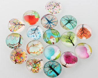 10 cabochons round tree of life 10 mm