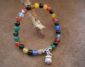 Multicolored 6 mm onyx agate beaded bracelet