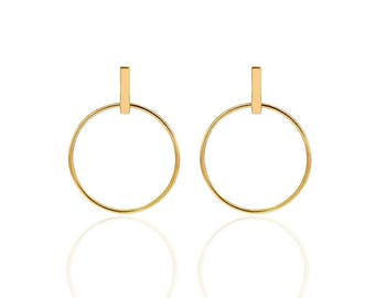 Minimal Large Circle & Stick Stud Earrings, Stud stick earrings, Outline Circle Ear, Frontal Hoop Earrings, Circle Bar Earrings