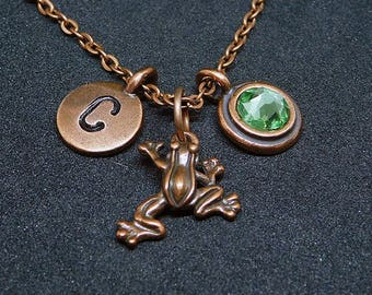 Copper frog necklace, swarovski birthstone, initial necklace, birthstone necklace