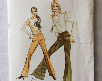 Vintage 1971 UNCUT Kwik Sew 351 New Misses Size 18, 20, and 22 Pants with Leg Variations Pattern