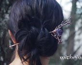 Elven forest hairpin Samhain hair stick with amethyst cristall Branch hairpin Botanical hair accessory elven jewelry copper hair pin fairy