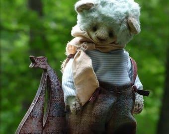 Pastel Light Sky Blue Artist Teddy Bear. Handmade OOAK Teddy Bear staffed animals.