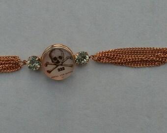 steel chunk bracelet skull