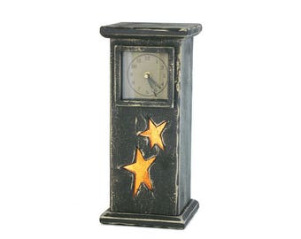 Primitive Star Clock/Nightlight with Glass Face
