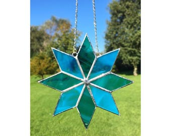 Stained glass star, blue and turquoise star suncatcher decoration