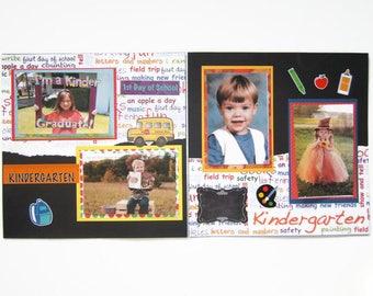 Back to School Layouts - Kindergarten Scrapbook pages - Premade Kindergarten Layouts - Kindergarten Scrapbook Layouts - Back to School Pages