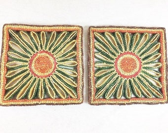 2 Square Vintage Wicker Coasters Vintage Straw Coasters Woven Caosters Red Yellow Green Coasters