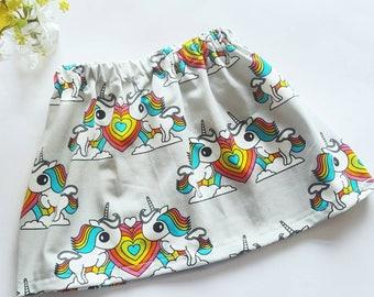 Girls organic unicorn skirt with rainbows - Girls summer clothing - toddler skirt - party clothes - birthday gift - fairytale skirt -