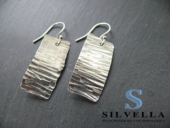 Sterling Silver Textured Earrings - Handmade in Wales - Silver Dangle Earrings - Handmade Sterling Silver