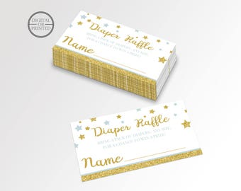 Twinkle Little Star Diaper Raffle Card | Twinkle Baby Shower Diaper Raffle | Twinkle Theme Diaper Raffle Card | Raffle Card | Printable