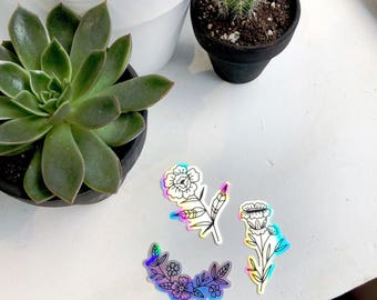 Holographic floral sticker set- set of 3
