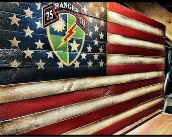 Army Ranger American Flag, US Army Ranger Flag, 75th Ranger Battalion, Military Flag, American Flag, Rustic American Flag, Army Flag