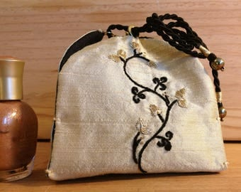Soft Gold Silk Embroidered jewelry, beads, memories, secrets box...