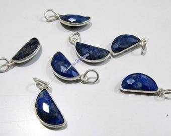 SALE- Best Quality Natural Lapis Lazuli D Shape Charm Pendant , 8x16mm Half Moon Silver Plated Briolette Connectors , Gemstone Pendant.