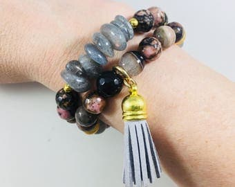 "Set of 2 ""Cherie"" rhodenite and labradorite beaded tassel bracelets // Fast and free shipping"