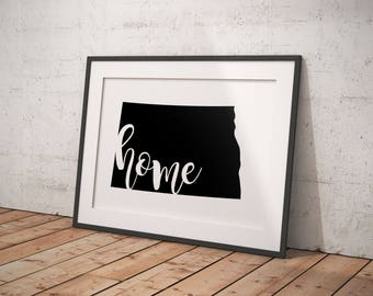 North Dakota State home printable | home state | midwest is best | art print, wall art | Digital Download