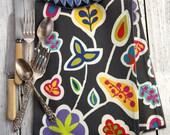 Jaipur Tea Towel Designed by Kristin Nicholas - Grey, Off White, Blue, Red, Orange, Chartreuse, Green