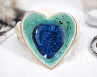 Turquoise heart bowl, ceramic bowl, ring dish, handmade bowl, jewelry dish, ring bowl, jewelry bowl, birthday gift, gift for her