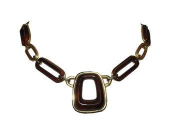 Givenchy Modernist Style Brown Swirl Bakelite Necklace